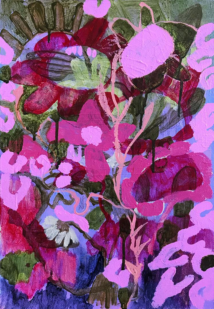 Abundance #1 abstract purple pink hues floral painting Tracy Algar