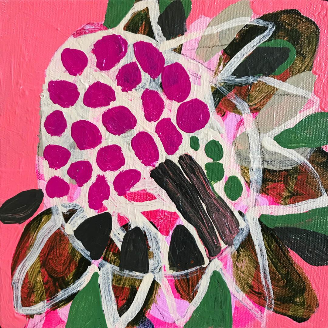 Abundance #13, pink abstract protea by Tracy Algar