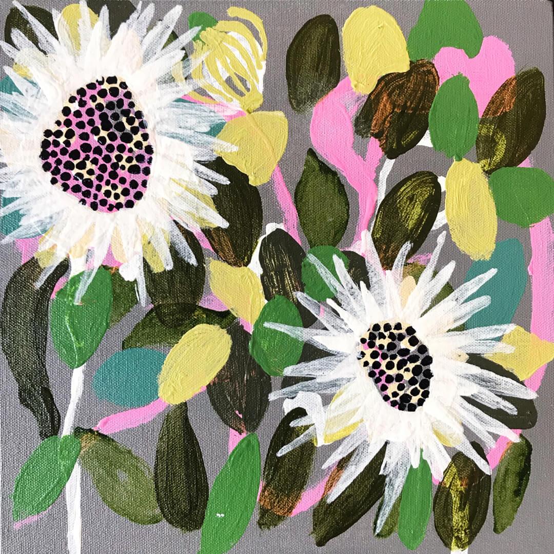 Abundance #16, abstract sewejaartjies painting by Tracy Algar