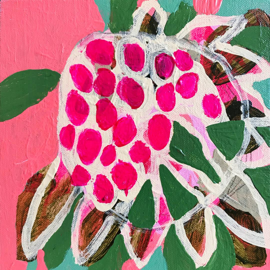 Abundance #14, abstract protea flower painting by Tracy Algar