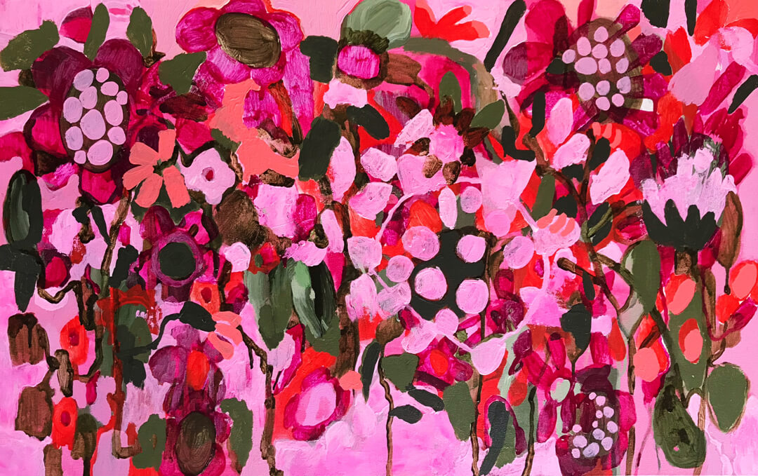 Abundance #18, pink floral abstract painting by Tracy Algar