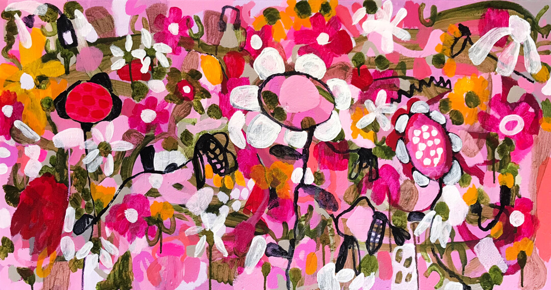 Abundance #17, intuitive abstract floral painting by Tracy Algar
