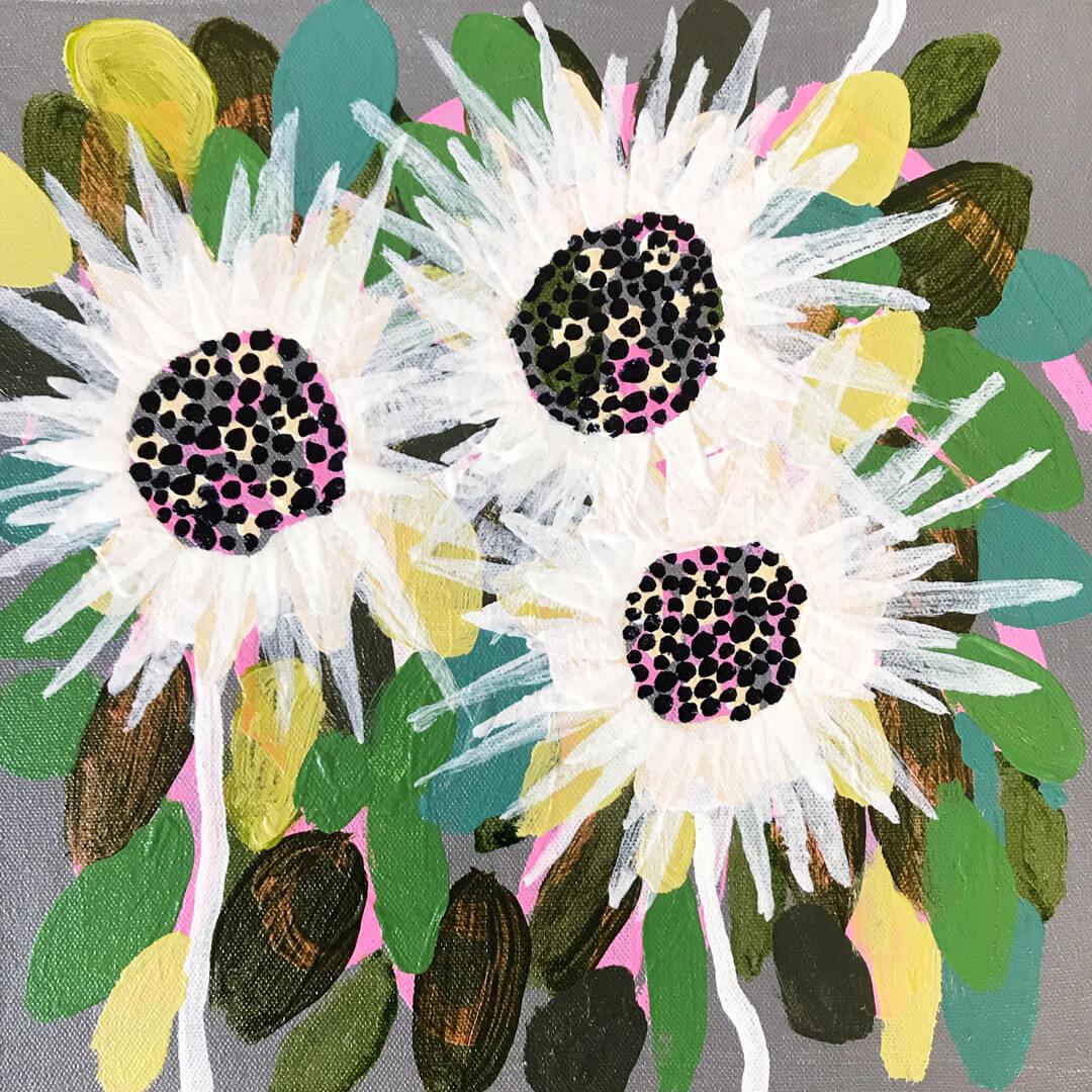 Abundance #15, abstract everlasting flowers by Tracy Algar