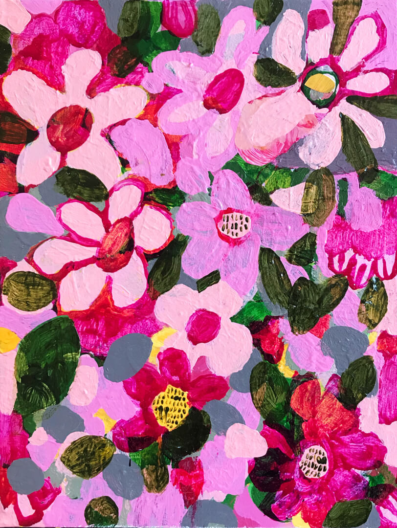 Abundance #2, pink and green abstract flower painting by Tracy Algar