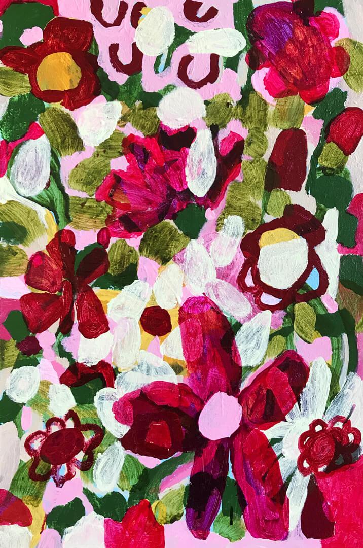 Abundance #3, loose abstract floral by Tracy Algar