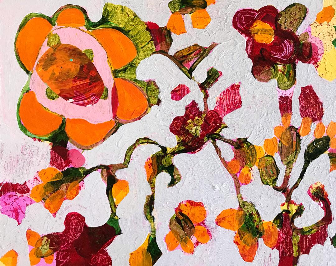 Abundance #6, acrylic & collage on canvas by Tracy Algar