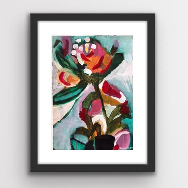 Blom 3, acrylic floral on paper, by Tracy Algar