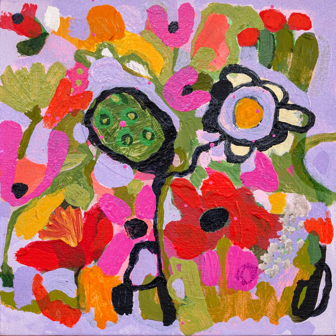 Budding Enthusiasm, abstract flowers by Tracy Algar