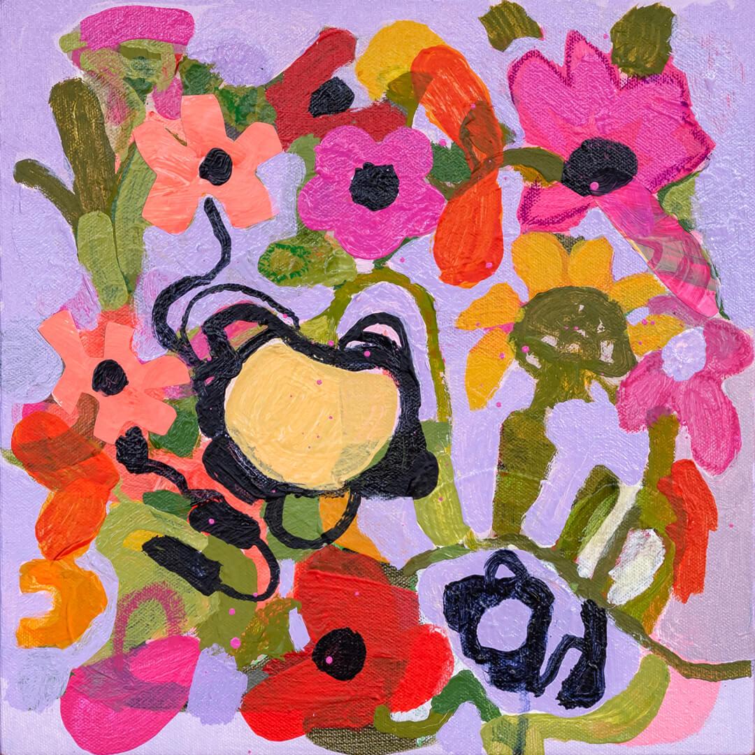 Budding Enthusiasm 2, floral artwork by Tracy Algar