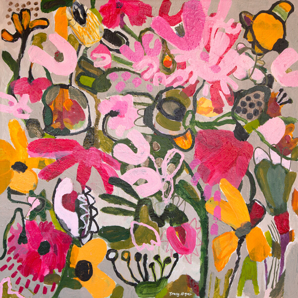 Flower Power, synthetic polymer abstract floral, by Tracy Algar